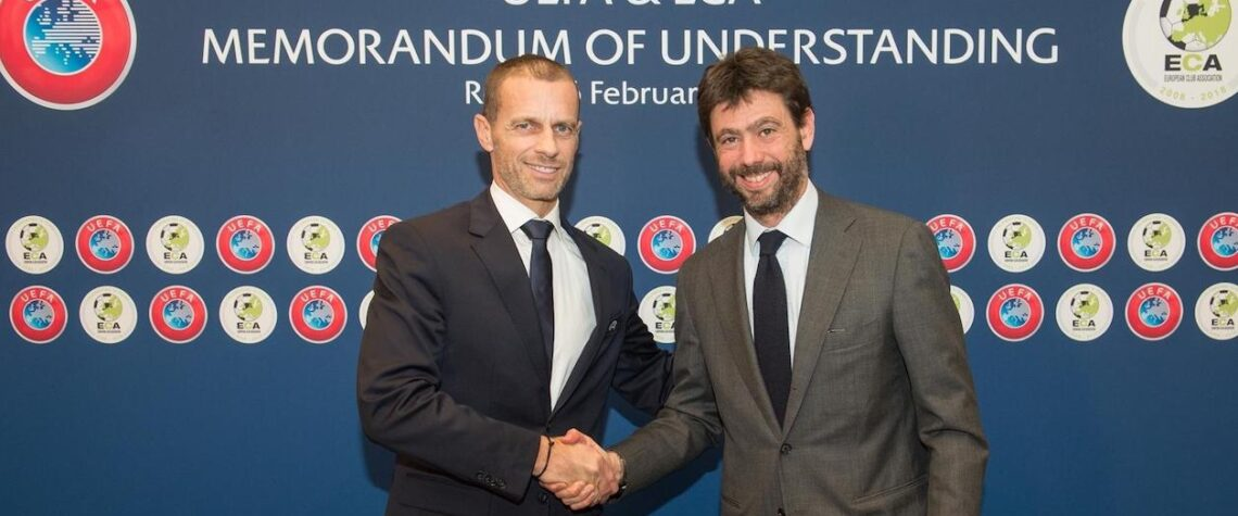 Aleksander Ceferin (presidente Uefa) e Andrea Agnelli (presidente Eca). Photo credit: UEFA.com